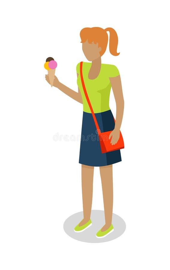 Η γυναίκα στο περιστασιακό ύφασμα τρώει το παγωτό διάνυσμα ελεύθερη απεικόνιση δικαιώματος