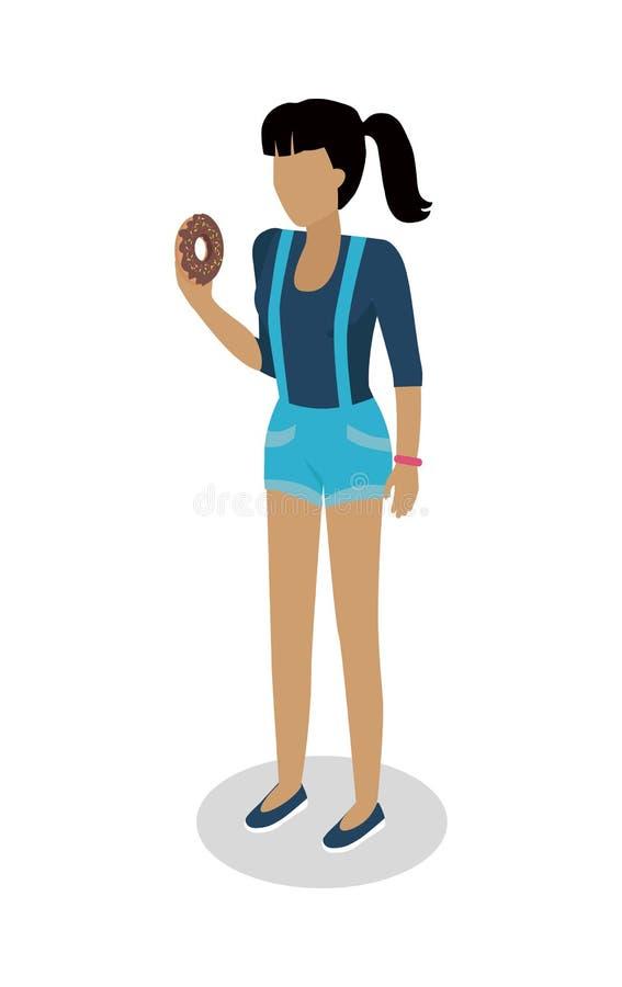 Η γυναίκα στο περιστασιακό ύφασμα τρώει doughnut διάνυσμα ελεύθερη απεικόνιση δικαιώματος