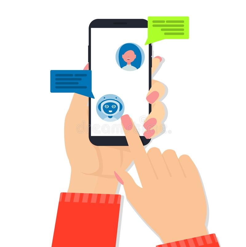 Η γυναίκα συνομιλίας BOT δίνει κινητό απεικόνιση αποθεμάτων
