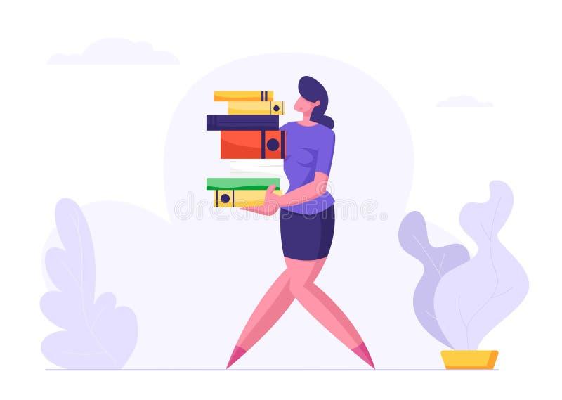 Η γυναίκα φέρνει το μεγάλο σωρό των αρχείων εγγράφων Επιχειρηματίας, χαρακτήρας γραμματέων, υπάλληλος γραφείων στην εργασία απεικόνιση αποθεμάτων