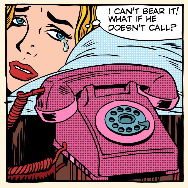 Η γυναίκα φωνάζει και περιμένει μια κλήση απεικόνιση αποθεμάτων