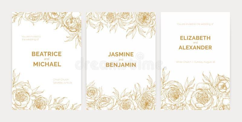 Η δέσμη των πανέμορφων floral προτύπων πρόσκλησης δεξιώσεων γάμου με τα τριαντάφυλλα της Προβηγκίας δίνει επισυμένος την προσοχή  απεικόνιση αποθεμάτων