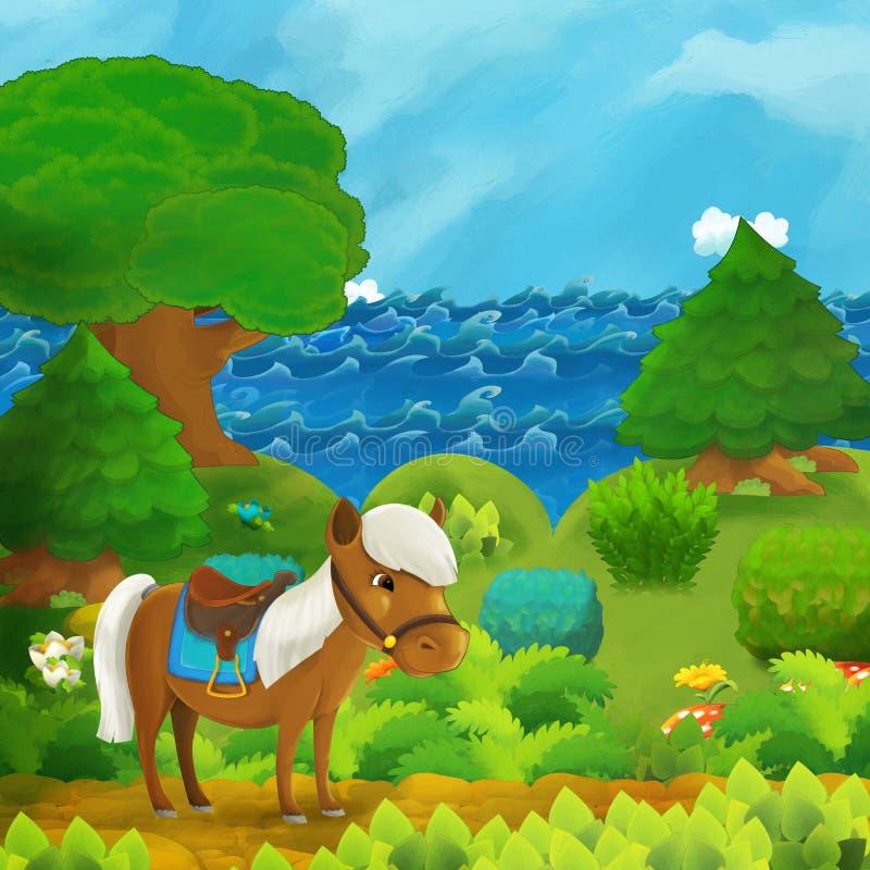 Η δασική σκηνή με κινούμενα σχέδια, με τον πρίγκιπα και την πριγκίπισσα να στέκονται στο μονοπάτι κοντά στο δάσος και την ακτή τη στοκ εικόνα με δικαίωμα ελεύθερης χρήσης