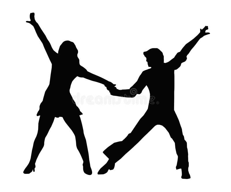 Η δεκαετία του '70 ζεύγους χορού διανυσματική απεικόνιση