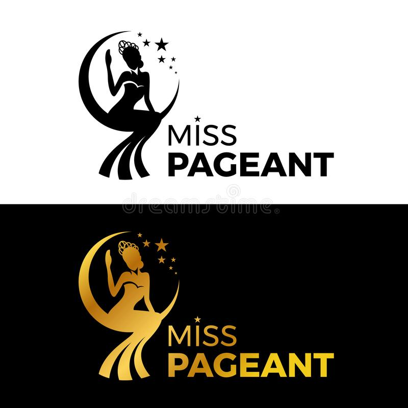 Η Δεσποινίς σημάδι λογότυπων γυναικείου θεάματος με την κορώνα ένδυσης χρυσού και μαύρων γυναικών κάθεται στο moonn και το διανυσ διανυσματική απεικόνιση