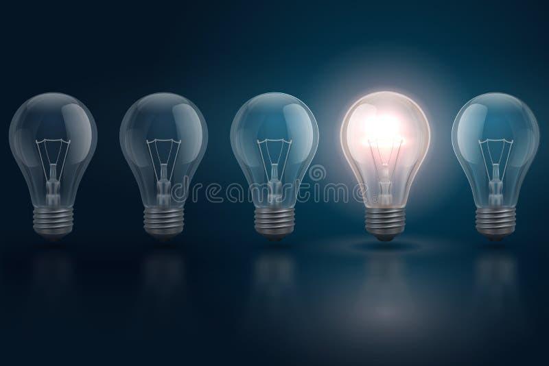 Η δημιουργική έννοια ιδέας με τις λάμπες φωτός και μια από τις καίγεται Ηγεσία, προσωπικότητα, επιχείρηση ευκαιριών διανυσματική απεικόνιση