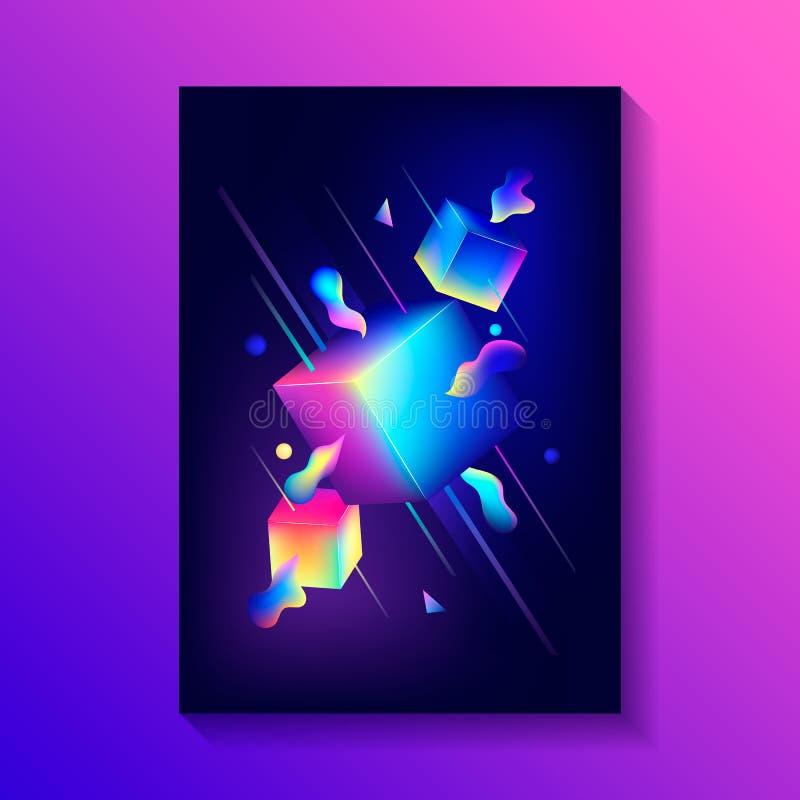 Η δημιουργική αφίσα σχεδίου με τη σύνθεση των τρισδιάστατων κύβων και άλλοι διαμορφώνει διανυσματική απεικόνιση