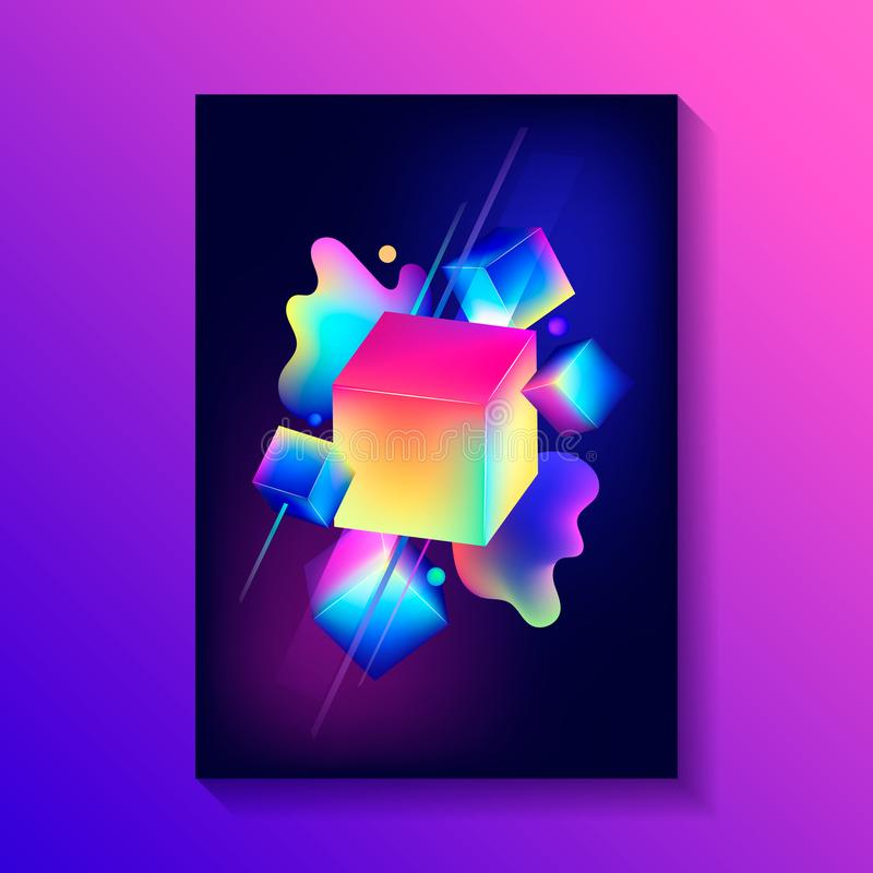 Η δημιουργική αφίσα σχεδίου με τη σύνθεση των τρισδιάστατων κύβων και άλλοι διαμορφώνει απεικόνιση αποθεμάτων
