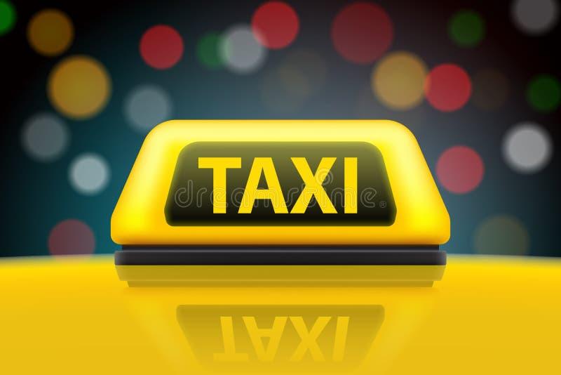 Η δημιουργική διανυσματική απεικόνιση του κίτρινου σημαδιού στεγών αυτοκινήτων υπηρεσιών ταξί στην οδό θόλωσε τη νύχτα το υπόβαθρ απεικόνιση αποθεμάτων
