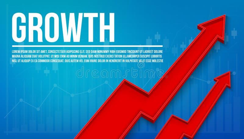 Η δημιουργική διανυσματική οικονομική αύξηση βελών απεικόνισης τρισδιάστατη, γραφική αυξάνεται το υπόβαθρο εμβλημάτων Επιχειρησια απεικόνιση αποθεμάτων
