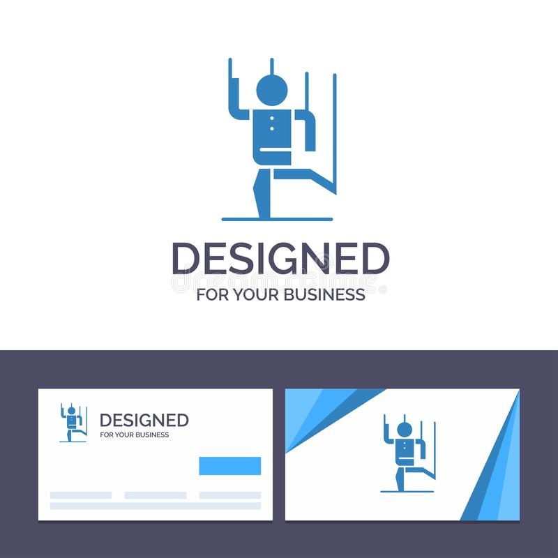 Η δημιουργική εντολή προτύπων επαγγελματικών καρτών και λογότυπων, έλεγχος, άνθρωπος, χειρίζεται, διανυσματική απεικόνιση χειρισμ απεικόνιση αποθεμάτων