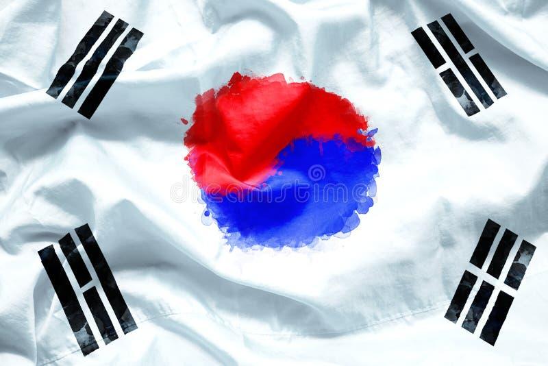 Η Δημοκρατία σημαιών της Νότιας Κορέας από τη βούρτσα χρωμάτων watercolor στο ύφασμα καμβά, grunge ορίζει στοκ εικόνες
