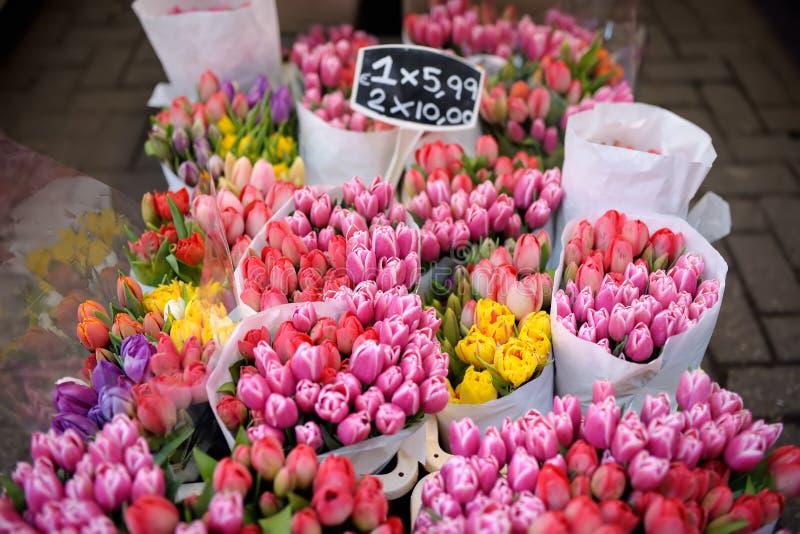 Η διάσημη αγορά Bloemenmarkt λουλουδιών του Άμστερνταμ Πολύχρωμες τουλίπες Το σύμβολο των Κάτω Χωρών στοκ εικόνες