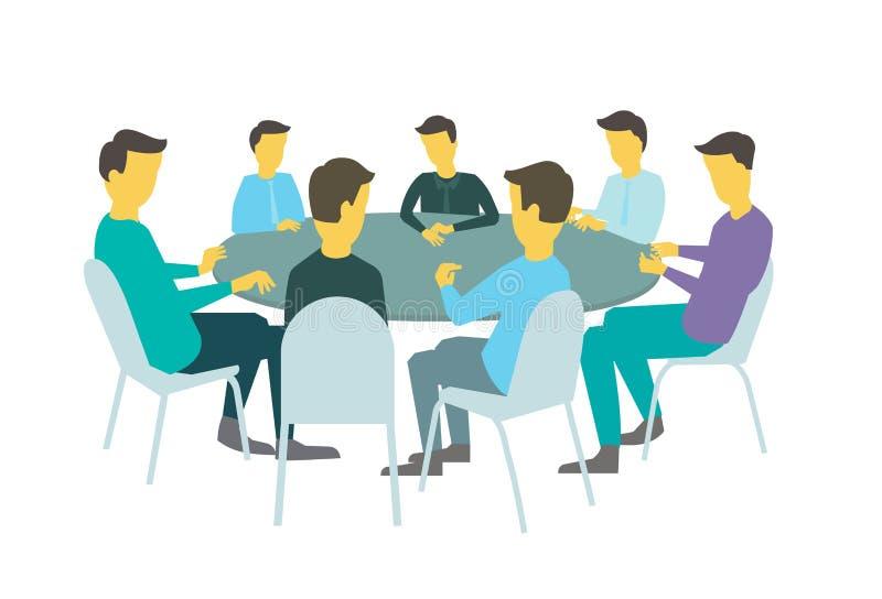 Η διάσκεψη στρογγυλής τραπέζης μιλά τον καταιγισμό ιδεών Επιχειρηματίες ομάδας που συναντούν τη διάσκεψη επτά άνθρωποι Άσπρη απει απεικόνιση αποθεμάτων