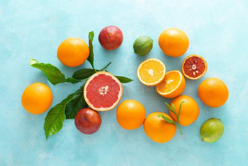 Η διάφορη τροπική σύνθεση φρούτων με τα φύλλα, επίπεδα βάζει το μπλε θε στοκ φωτογραφίες με δικαίωμα ελεύθερης χρήσης