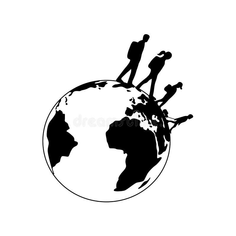 Η διακινούμενη οικογένεια σκιαγραφεί το περιστρεφόμενο εικονίδιο πλανήτη Γη Άνδρας, γυναίκα, παιδιά Απλό επίπεδο μονοχρωματικό ει απεικόνιση αποθεμάτων