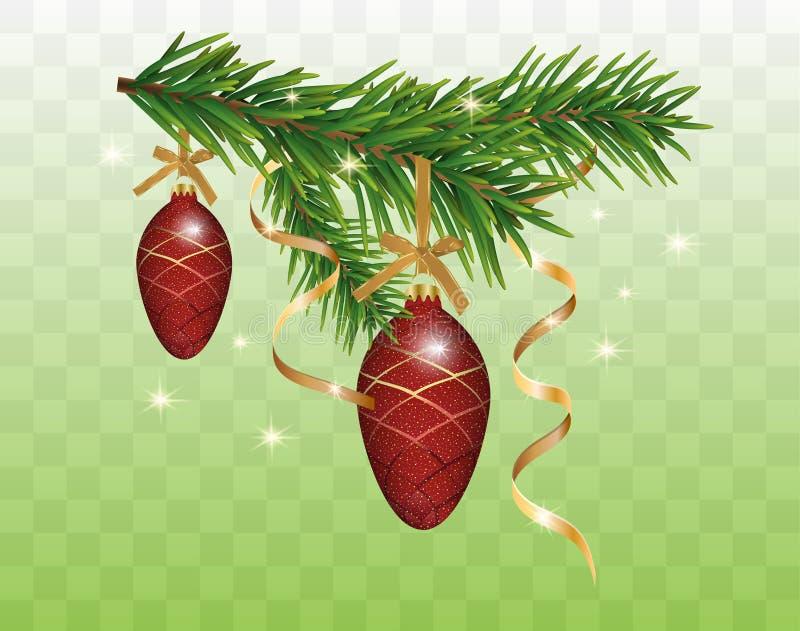 Η διακόσμηση Χριστουγέννων με το έλατο διακλαδίζεται, κόκκινοι κώνοι μπιχλιμπιδιών και χρυσές κορδέλλες που απομονώνονται στο δια διανυσματική απεικόνιση