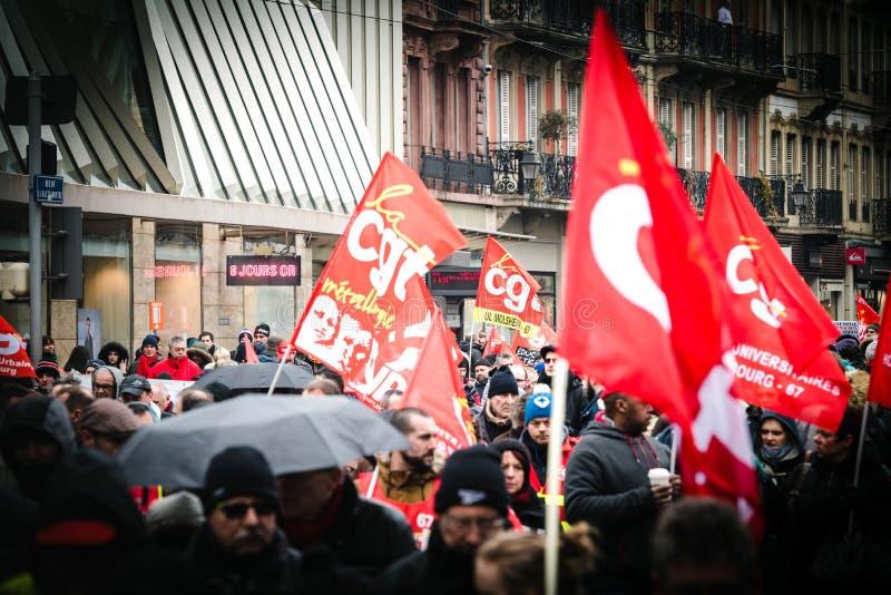Η διαμαρτυρία ενάντια στη γαλλική κυβερνητική σειρά Macron των μεταρρυθμίσεων κλείνει στοκ εικόνες