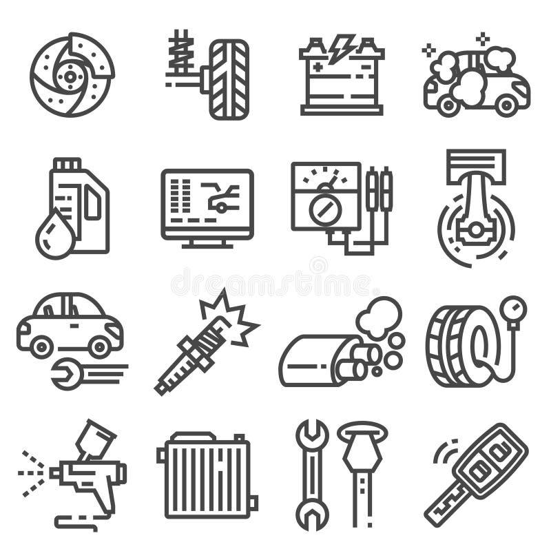 Η διανυσματικά υπηρεσία και το γκαράζ αυτοκινήτων απομόνωσαν τα εικονίδια που τέθηκαν στο άσπρο υπόβαθρο, επισκευή, λεπτομέρεια α απεικόνιση αποθεμάτων