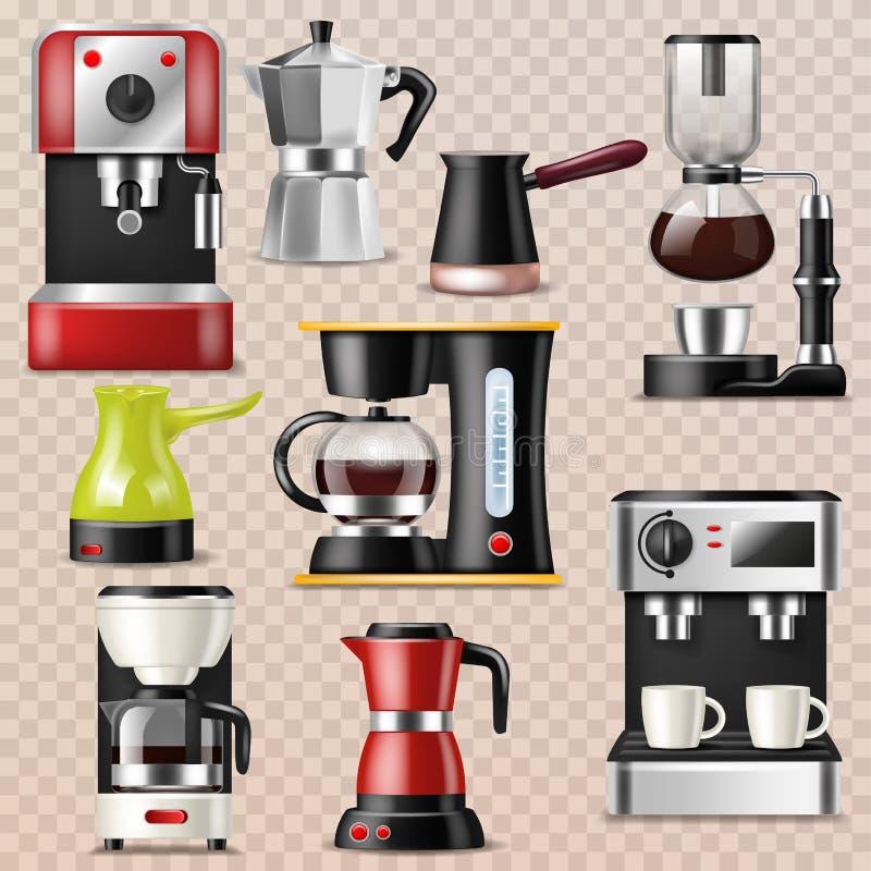 Η διανυσματικές coffeemaker και καφές-μηχανή μηχανών καφέ για το espresso πίνουν με την καφεΐνη στο σύνολο απεικόνισης καφέδων απεικόνιση αποθεμάτων