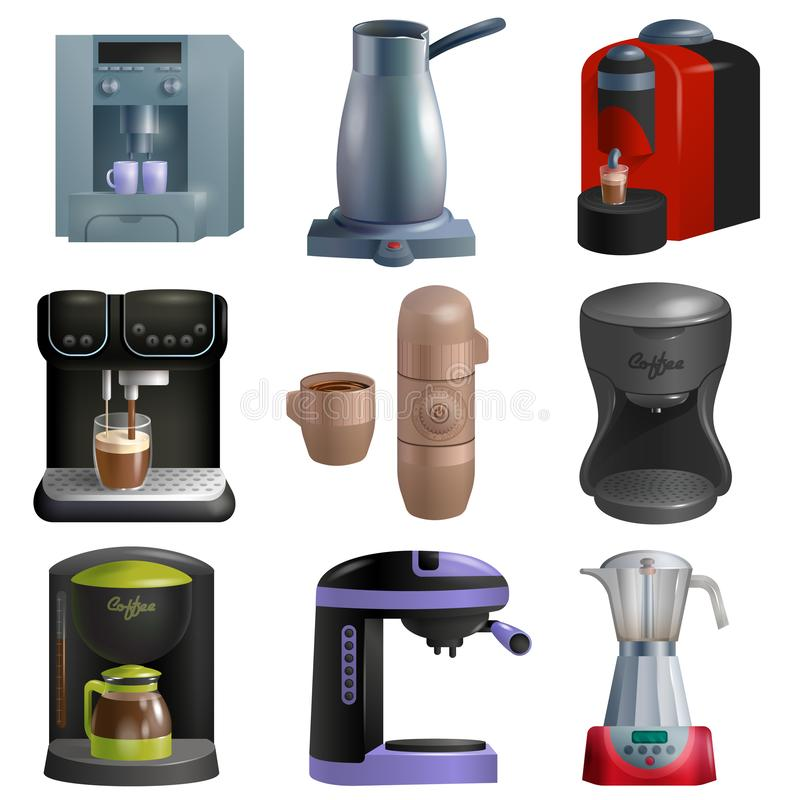 Η διανυσματικές coffeemaker και καφές-μηχανή μηχανών καφέ για το espresso πίνουν με την καφεΐνη στο σύνολο απεικόνισης καφέδων ελεύθερη απεικόνιση δικαιώματος