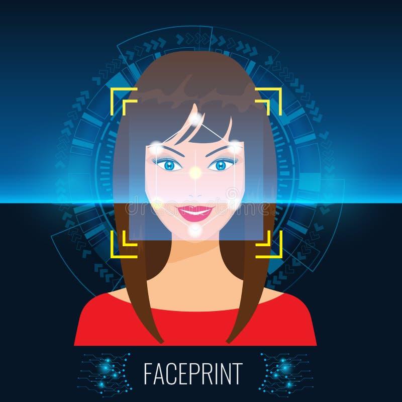 Η διανυσματική αναγνώριση προσώπου ή η γυναίκα ` s ανίχνευσης τεχνολογίας Faceprint αντιμετωπίζει το αφηρημένο υπόβαθρο τεχνολογί απεικόνιση αποθεμάτων