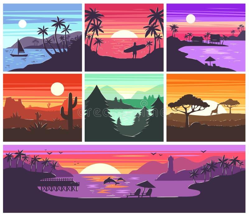 Η διανυσματική ανατολή ηλιοβασιλέματος με τους φοίνικες της Χαβάης ή το βουνό σκιαγραφεί στο σύνολο απεικόνισης σκηνικού τροπικού διανυσματική απεικόνιση