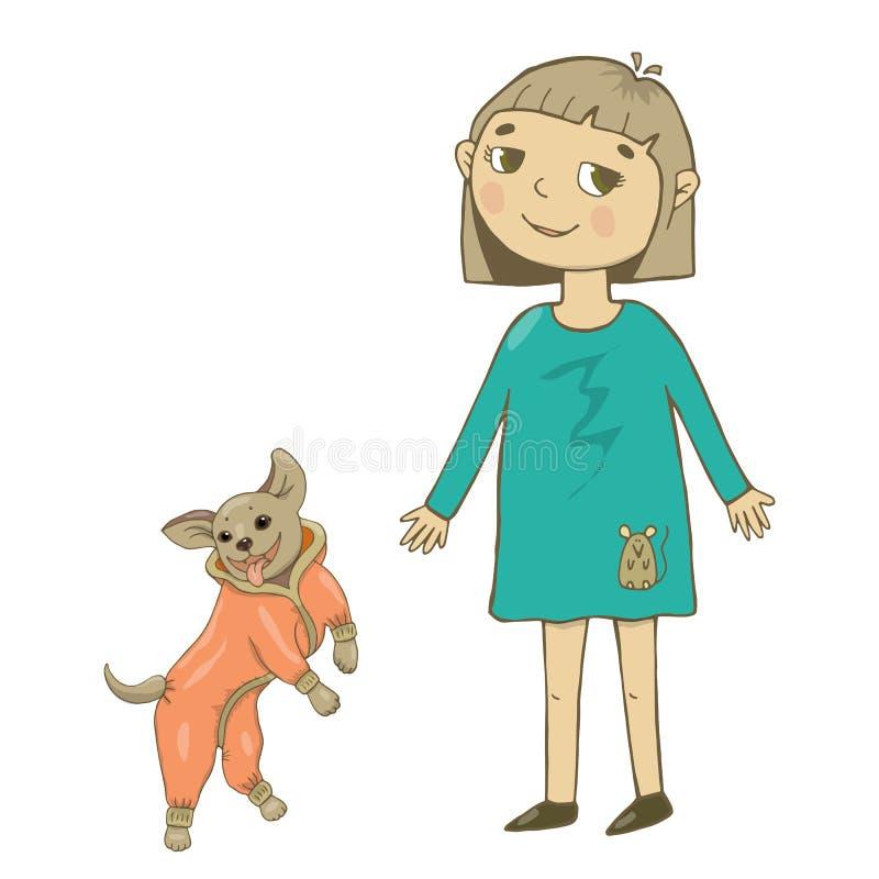 Η διανυσματική απεικόνιση ενός κοριτσιού το καλοκαίρι ντύνει, σε ένα μπλε φόρεμα και τα παπούτσια, περπατώντας με ένα σκυλί στις  απεικόνιση αποθεμάτων