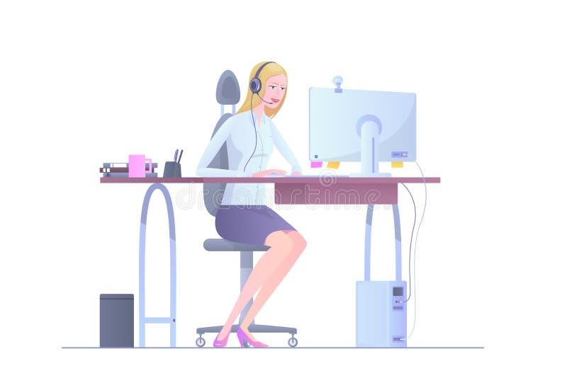 Η διανυσματική απεικόνιση ενός χειριστή κοριτσιών του τηλεφωνικού κέντρου είναι σε ένα άσπρο υπόβαθρο διανυσματική απεικόνιση