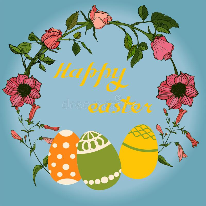 Η διανυσματική απεικόνιση Πάσχας με τα αυγά, αυξήθηκε λουλούδια και λαγουδάκια Άριστος για το σχέδιο των καρτών, των αφισών, των  διανυσματική απεικόνιση