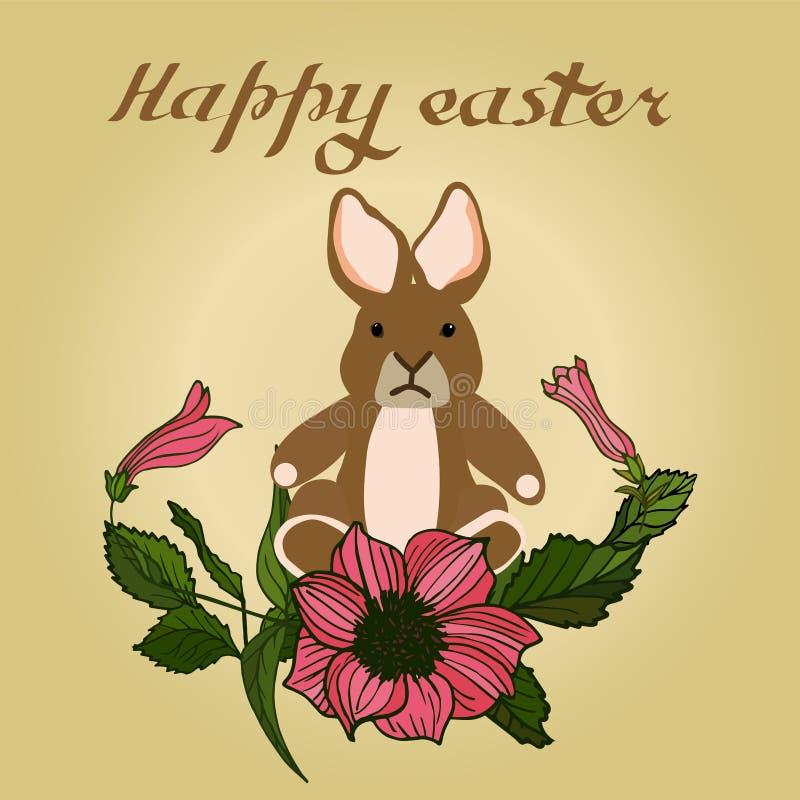 Η διανυσματική απεικόνιση Πάσχας με τα αυγά, αυξήθηκε λουλούδια και λαγουδάκια Άριστος για το σχέδιο των καρτών, των αφισών, των  ελεύθερη απεικόνιση δικαιώματος