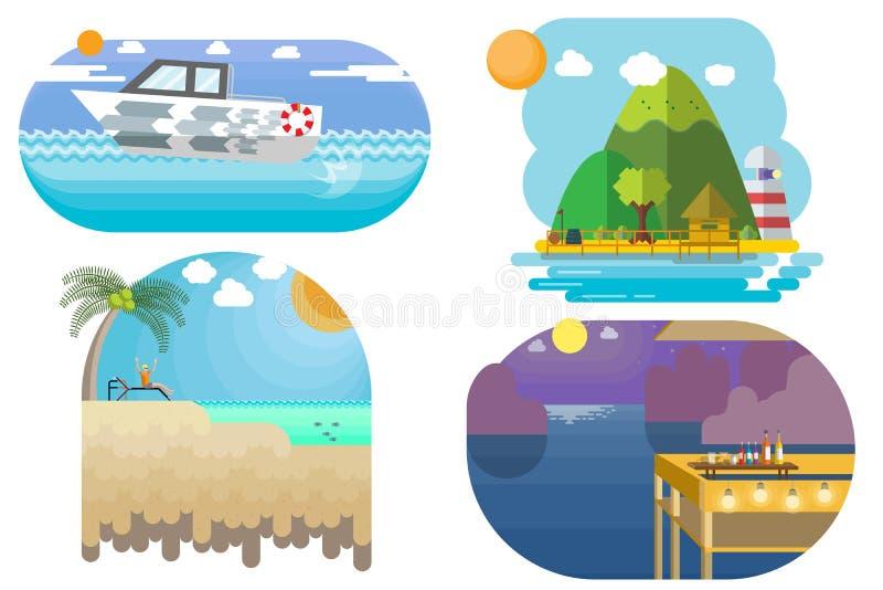 Η διανυσματική απεικόνιση σκοντάφτει και ταξίδι στη θάλασσα και το επίπεδο ύφος παραλιών απεικόνιση αποθεμάτων