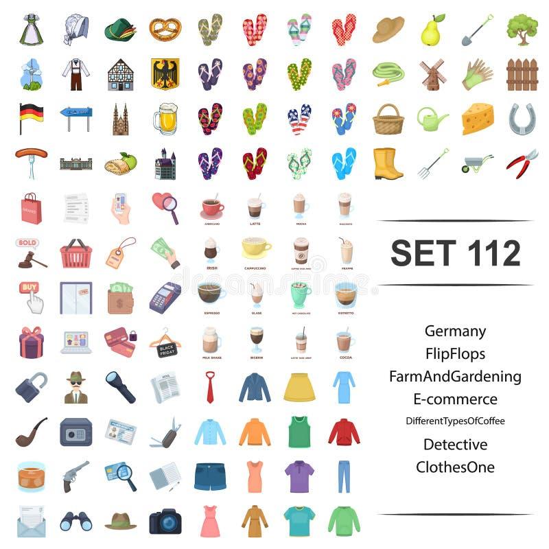 Η διανυσματική απεικόνιση της Γερμανίας, πτώσεις κτυπήματος, αγρόκτημα, κηπουρική, διαφορετικός ιδιωτικός αστυνομικός καφέ τύπων  απεικόνιση αποθεμάτων