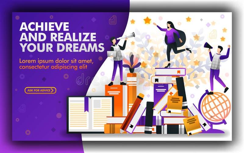 Η διανυσματική απεικόνιση της εκπαίδευσης σας βοηθά για να επιτύχει και να πραγματοποιήσει τα όνειρά σας υποτροφία για να βοηθήσε απεικόνιση αποθεμάτων