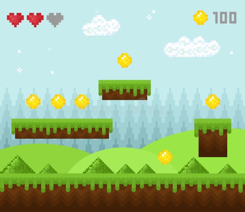 Η διανυσματική απεικόνιση του αναδρομικού τοπίου παιχνιδιών εικονοκυττάρου ύφους, τα εικονίδια τοπίου παιχνιδιών, παλαιό υπόβαθρο ελεύθερη απεικόνιση δικαιώματος