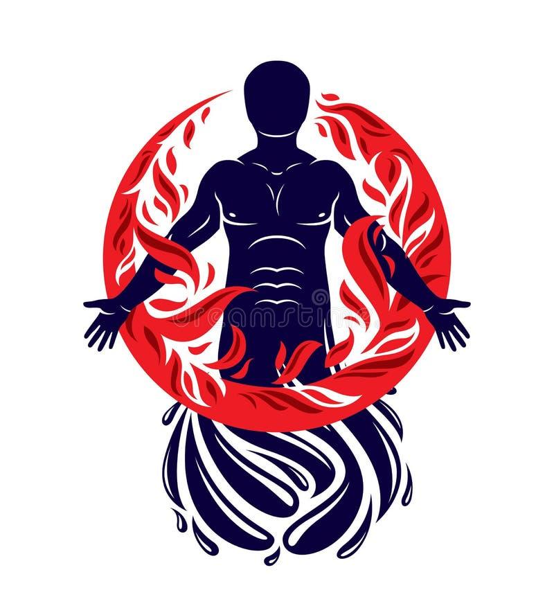 Η διανυσματική απεικόνιση του ανθρώπου, αθλητής δημιούργησε το νερό μορφής και που περιέβαλε από μια βολίδα Ζωντανός στην αρμονία διανυσματική απεικόνιση