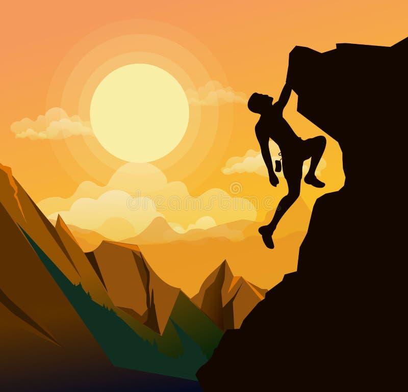 Η διανυσματική απεικόνιση του ατόμου ορειβασίας στα βουνά λικνίζει στο υπόβαθρο ηλιοβασιλέματος στο επίπεδο ύφος Κίνητρο ελεύθερη απεικόνιση δικαιώματος