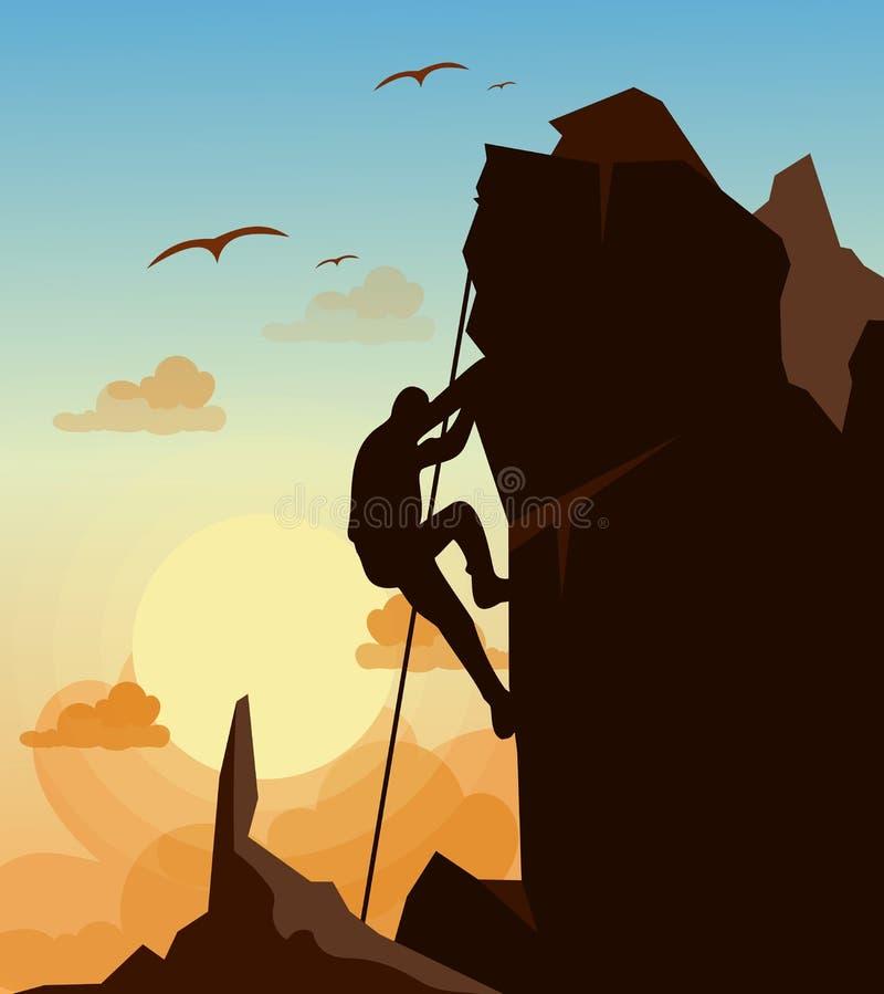 Η διανυσματική απεικόνιση του ατόμου ορειβασίας στα βουνά λικνίζει στον ουρανό ηλιοβασιλέματος με το υπόβαθρο πουλιών στο επίπεδο διανυσματική απεικόνιση