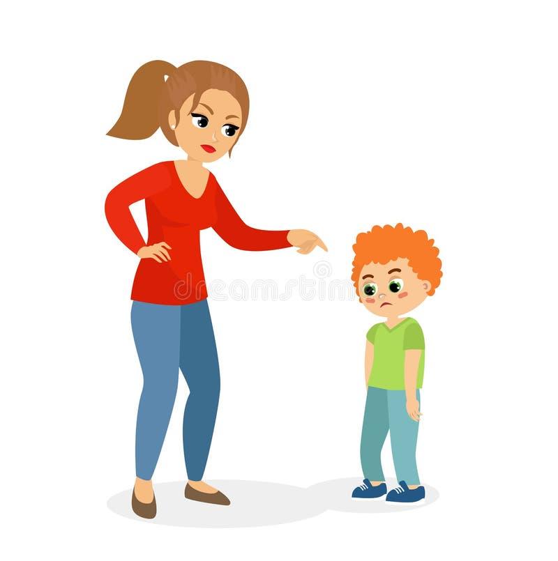 Η διανυσματική απεικόνιση του χαρακτήρα μητέρων που επιπλήττει το γιο της, mom τιμωρεί την έννοια γιων στο επίπεδο ύφος κινούμενω απεικόνιση αποθεμάτων