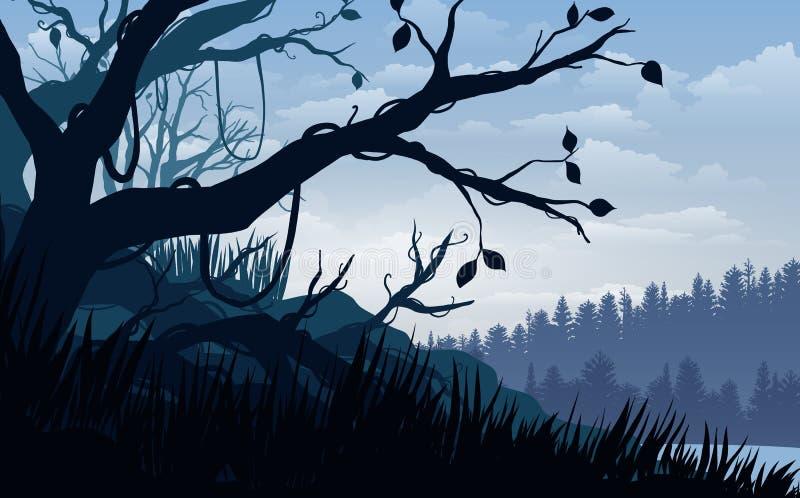 Η διανυσματική απεικόνιση, τροπικό δάσος άποψης τοπίων ο ουρανός, σύννεφα, βουνό οξύνει, και βαθιά ζούγκλα για το υπόβαθρο ιστοχώ διανυσματική απεικόνιση