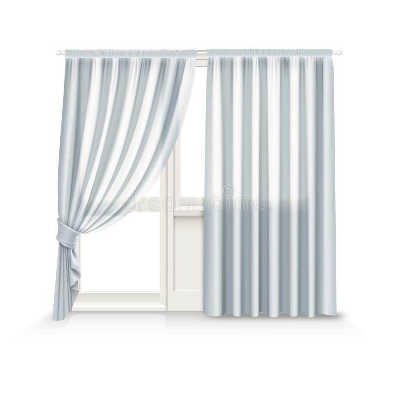 Η διανυσματική απεικόνιση των γκρίζων κουρτινών κρεμά στην πόρτα παραθύρων και μπαλκονιών στο υπόβαθρο απεικόνιση αποθεμάτων