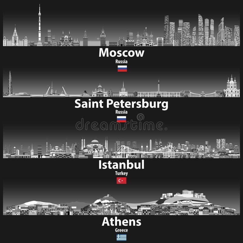 Η διανυσματική απεικόνιση των οριζόντων της Μόσχας, Αγίου Πετρούπολη, της Ιστανμπούλ και της Αθήνας τη νύχτα στις γκρίζες κλίμακε ελεύθερη απεικόνιση δικαιώματος