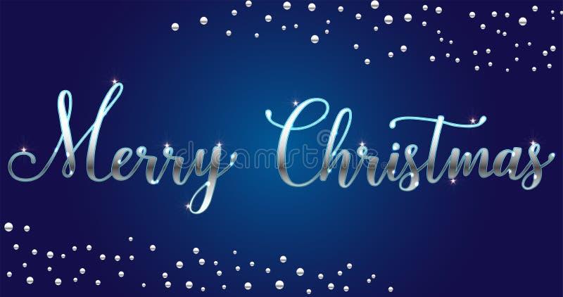 Η διανυσματική ασημένια φωτεινή Χαρούμενα Χριστούγεννα βουρτσίζει το γράφοντας κείμενο στο μπλε υπόβαθρο, για τους χαιρετισμούς,  ελεύθερη απεικόνιση δικαιώματος