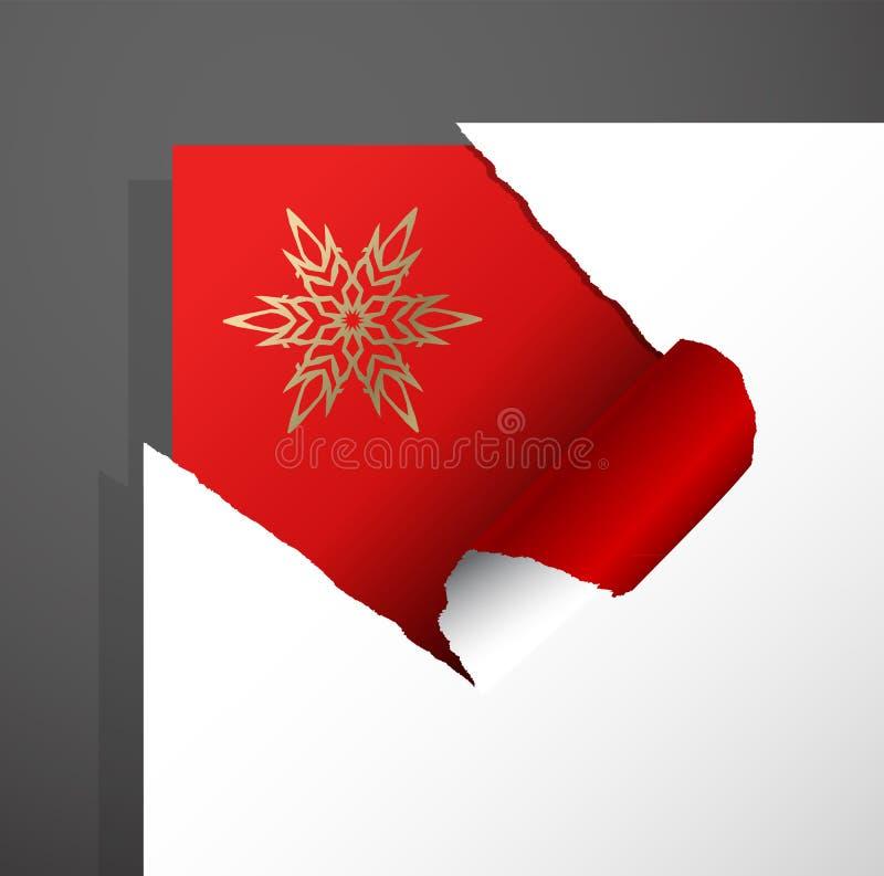 Η διανυσματική γωνία εγγράφου απεικόνισης Χριστουγέννων αποκόπτει το υπόβαθρο με την αποκαλυμμένη χρυσή νιφάδα χιονιού απεικόνιση αποθεμάτων
