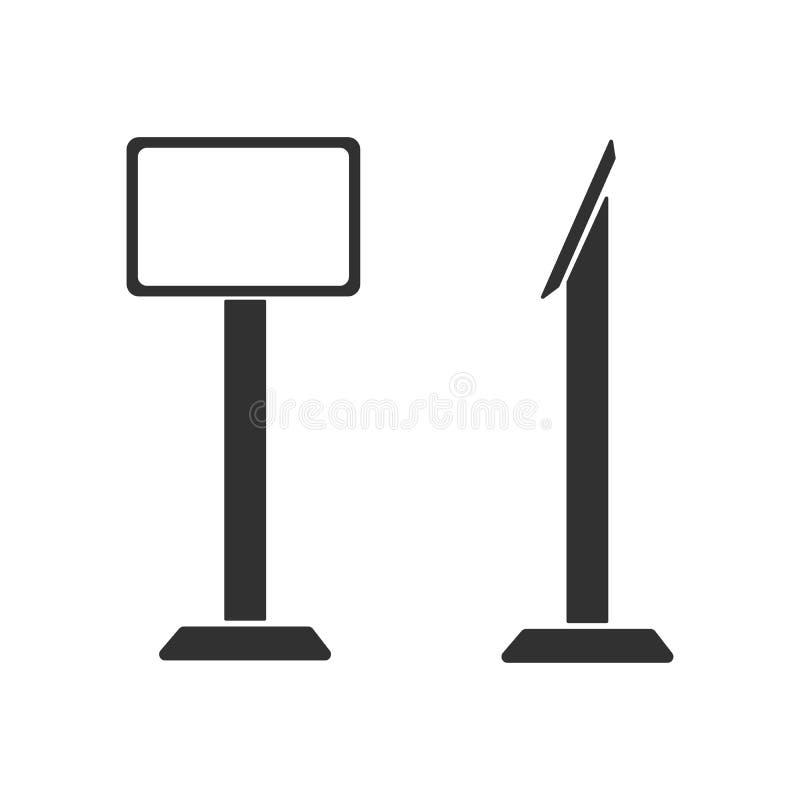 Η διανυσματική διαλογική επίδειξη οθόνης στάσεων περίπτερων πληροφοριών τελική, η συσκευή ή η ταμπλέτα στέκονται Απεικόνιση που α ελεύθερη απεικόνιση δικαιώματος