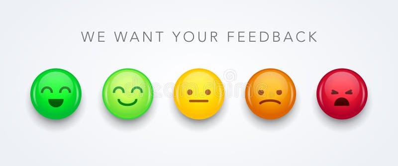 Η διανυσματική εμπειρία χρηστών απεικόνισης ανατροφοδοτεί το διαφορετικό εικονίδιο emoji smiley διάθεσης έννοιας emoticons θετικό ελεύθερη απεικόνιση δικαιώματος