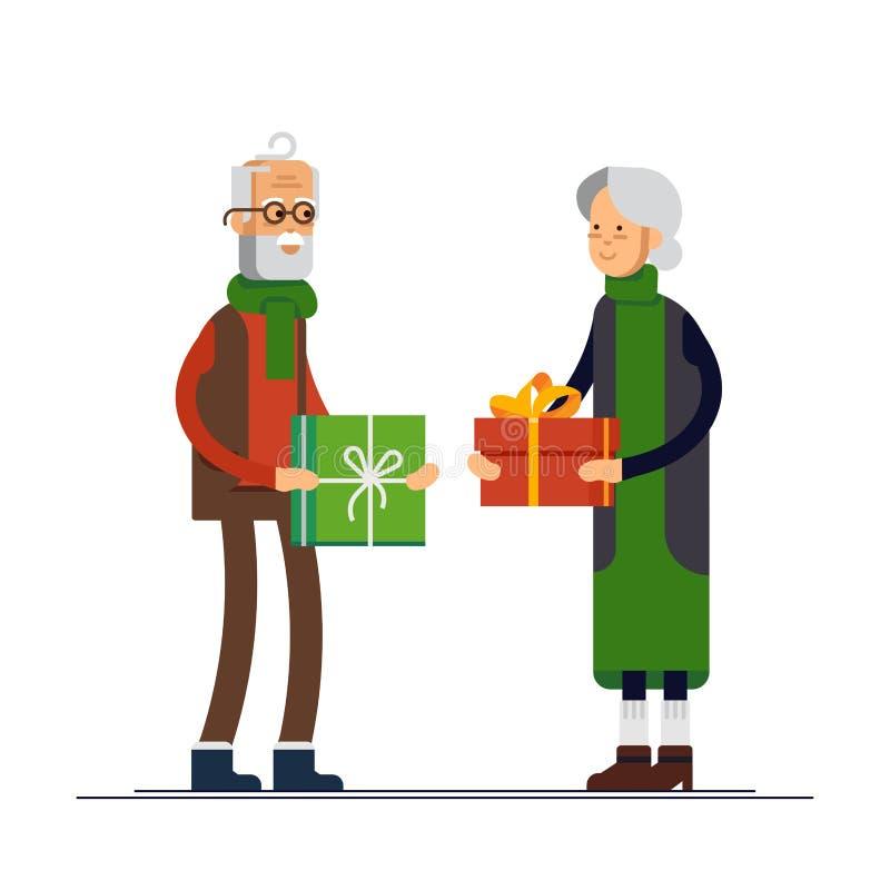 Η διανυσματική επίπεδη απεικόνιση των ηλικιωμένων Χριστουγέννων εορτασμού ζευγών και δίνει ένα δώρο Παππούς και γιαγιά έτοιμοι απεικόνιση αποθεμάτων