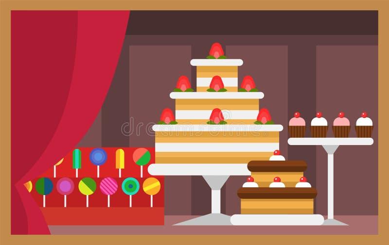 Η διανυσματική επίπεδη πρόσοψη καταστημάτων τροφίμων εστιατορίων σχεδίου storefront εμπορεύεται την απεικόνιση παραθύρων προθηκών ελεύθερη απεικόνιση δικαιώματος