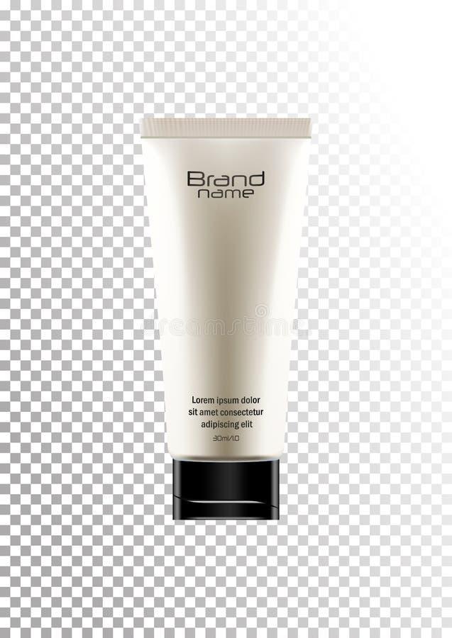 Η διανυσματική κενή άσπρη συσκευασία με το μαύρο καπάκι για τον καλλυντικό σωλήνα προϊόντων για το λοσιόν σωμάτων, κρέμα, τρίβει  ελεύθερη απεικόνιση δικαιώματος