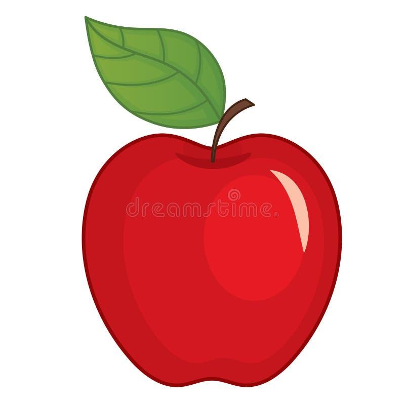 Η διανυσματική κόκκινη Apple με το φύλλο διανυσματική απεικόνιση